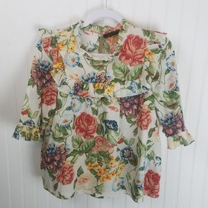ZARA FLORAL BOTANICAL Babydoll Ruffled Shirt